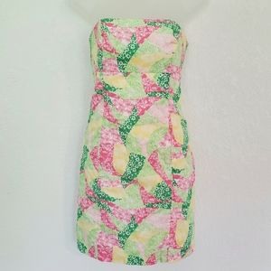 Lilly Pulitzer Pink Patchwork Strapless Mini Dress